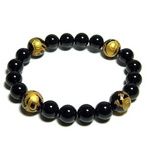 四神獣手金彫りオニキス ブレスレット 風水 12mm オニキス メンズLL プレゼント ブラック 黒 天然石 パワーストーン 腕輪 数珠|ginnokura