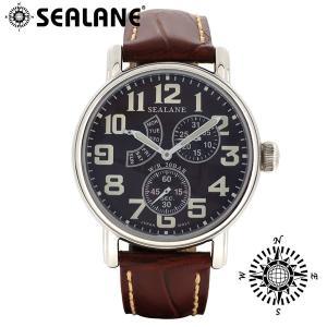 腕時計 メンズ ブランド シーレーン SE14 ブラウン 牛本革ベルト メンズ腕時計|ginnokura