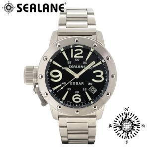 腕時計 メンズ ブランド シーレーン SE32 ブラック メタルベルト メンズ腕時計|ginnokura
