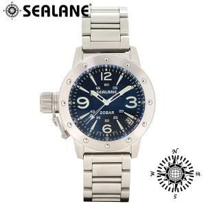 腕時計 メンズ ブランド シーレーン SE42 ブルー メタルベルト メンズ腕時計|ginnokura