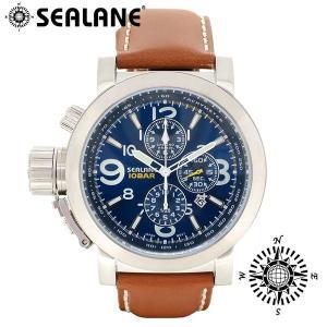 腕時計 メンズ ブランド シーレーン SE44 ブルー 牛本革ベルト メンズ腕時計|ginnokura