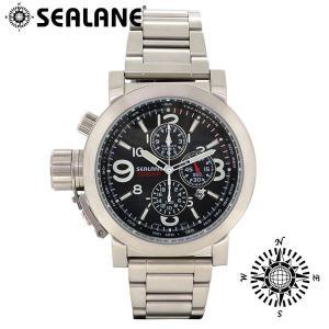 腕時計 メンズ ブランド シーレーン SE44 ブラック メタルベルト メンズ腕時計|ginnokura