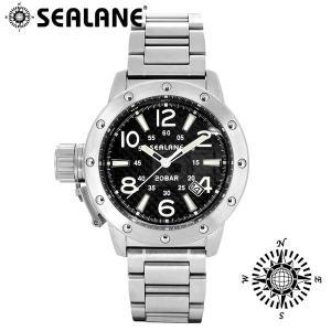 腕時計 メンズ ブランド シーレーン SE54 ブラック 自動巻き メタルベルト メンズ腕時計|ginnokura