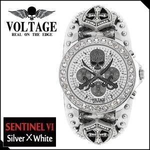 腕時計 メンズ ブランド センチネル6 シルバー ホワイト スカル ソード VOLTAGE メンズ腕時計|ginnokura