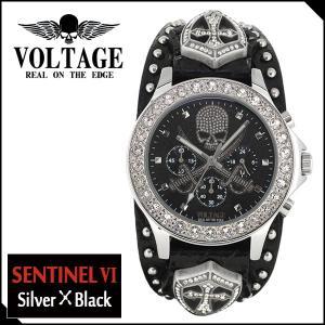 腕時計 メンズ ブランド センチネル6 シルバー ブラック スカル ソード VOLTAGE メンズ腕時計|ginnokura