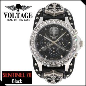 腕時計 メンズ ブランド センチネル7 ブラック スカル ドクロ クロスソード クロノグラフ レザー VOLTAGE メンズ腕時計|ginnokura