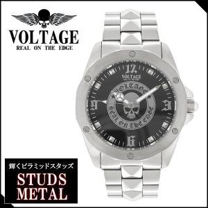腕時計 メンズ ブランド スタッズメタル スカル メタルバンド VOLTAGE メンズ腕時計|ginnokura