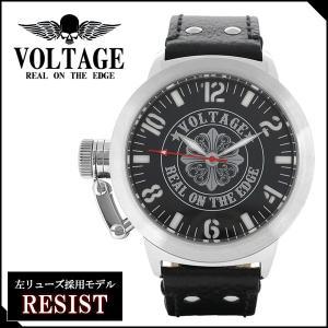 腕時計 メンズ ブランド レジスト ゴシッククロス レザーベルト VOLTAGE メンズ腕時計|ginnokura