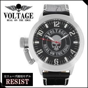 腕時計 メンズ ブランド レジスト スカル レザーベルト VOLTAGE メンズ腕時計|ginnokura