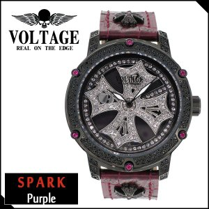 腕時計 メンズ ブランド スパーク パープル ダブルレイヤースピン クロス スワロフスキー レザー VOLTAGE メンズ腕時計|ginnokura