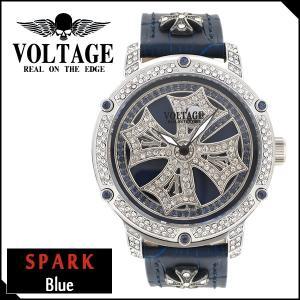 腕時計 メンズ ブランド スパーク ブルー ダブルレイヤースピン クロス VOLTAGE メンズ腕時計 ginnokura