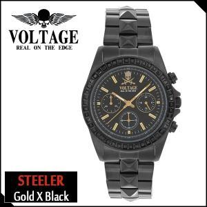 腕時計 メンズ ブランド スティーラー ゴールド ブラック スカル ドクロ クロノグラフ VOLTAGE メンズ腕時計|ginnokura