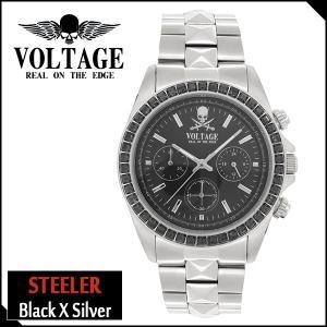 腕時計 メンズ ブランド スティーラー ブラック シルバー スカル ドクロ クロノグラフ VOLTAGE メンズ腕時計|ginnokura