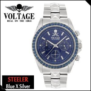 腕時計 メンズ ブランド スティーラー ブルー シルバー スカル ドクロ クロノグラフ VOLTAGE メンズ腕時計|ginnokura