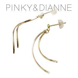 ピンキー&ダイアン デザインパーツ K10 ゴールド スタッドピアス 2P 両耳用 10金 10k ゴールド ウェーブ 流線 曲線 ピアス 大人 プレゼント|ginnokura