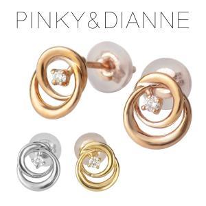 ピンキー&ダイアン 選べる3カラー 天然ダイヤモンド サークル K10 ゴールド スタッドピアス 2P 両耳用 10金 10k ゴールド 透かし ピアス|ginnokura