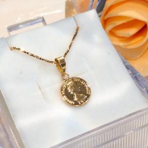 ネックレス 18金 8ミリ コイン 40cm / k18 8mm coin venetian cha...