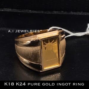 リング 18金 24金 純金 インゴット リバティ 自由の女神 K18  K24 pure gold...