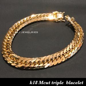ブレスレット 18金 Mカット トリプル / k18 Mcut triple bracelet 50...