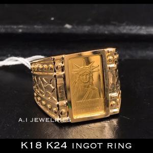 K18 純金 インゴット入り リング 指輪 18金 K24 pure gold ingot ring...