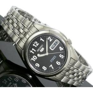 腕時計 メンズ セイコー5(SEIKO5) オートマチック 曜日・日付表示 ステンレスベルト シルバー/ブラック色 WS88NK381K1 / 当店再検品済=|ginza-luxury