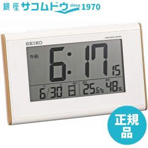 SEIKO CLOCK セイコー クロック 時計 木目調高視野角電波デジタル目覚まし時計(白) SQ771B|ginza-sacomdo
