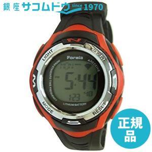 [フォルミア]Formia スポーツデザイン 電波腕時計 デジタル表示 ストップウォッチ機能 バックライト付き レッド FDM7752-B メンズ|ginza-sacomdo