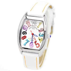 pierretalamon ピエールタラモン キュービックジルコニア トノー型 レザーベルト カラフルインデックス ホワイト 腕時計 レディース[PT-8500L-1WH]|ginza-sacomdo