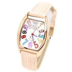 pierretalamon ピエールタラモン キュービックジルコニア トノー型 レザーベルト カラフルインデックス ホワイト 腕時計 レディース【PT-8500L-2】|ginza-sacomdo