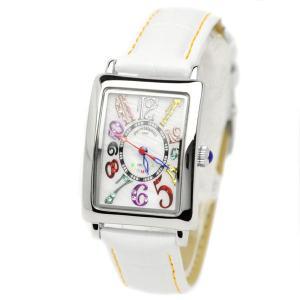 pierretalamon ピエールタラモン キュービックジルコニア スクエア型 レザーベルト カラフルインデックス シェル 腕時計 レディース[PT-9500L-1]|ginza-sacomdo