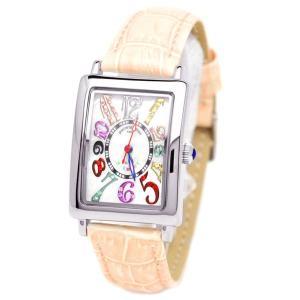 pierretalamon ピエールタラモン キュービックジルコニア スクエア型 レザーベルト カラフルインデックス シェル 腕時計 レディース[PT-9500L-3]|ginza-sacomdo