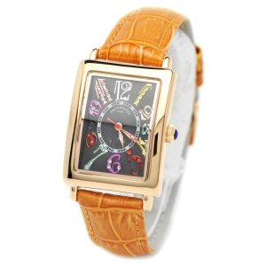 pierretalamon ピエールタラモン キュービックジルコニア スクエア型 レザーベルト カラフルインデックス シェル 腕時計 レディース[PT-9500L-4]|ginza-sacomdo