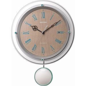 シチズン リズム時計 クロック カジュアルモダンな振子、連続秒針の電波時計 ソフレール 白・薄茶木目柄 8MX404SR03|ginza-sacomdo