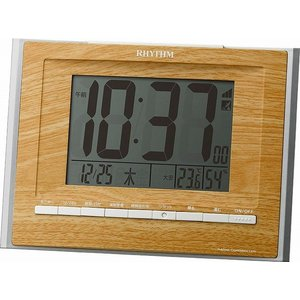 CITIZEN シチズン  RHYTHM(リズム時計) 落ち着いた木目調柄で家具とベストマッチの電波時計 フィットウェーブD172 薄茶木目仕上げ 8RZ172SR07|ginza-sacomdo