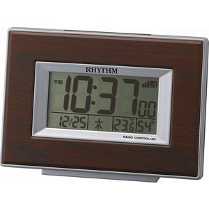 CITIZEN シチズン  RHYTHM(リズム時計) インテリア電波デジタル目覚し時計 フィットウェーブD174 木目調 茶色 8RZ174SR06|ginza-sacomdo