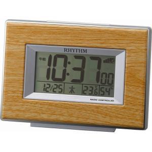 CITIZEN シチズン  RHYTHM(リズム時計) インテリア電波デジタル目覚し時計 フィットウェーブD174 木目調 薄茶色 8RZ174SR07|ginza-sacomdo
