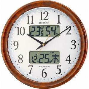 シチズン リズム時計 クロック 電波掛け時計 ピュアカレンダーM617SR 夜間自動点灯カレンダー 木目仕上げ 4FY617SR23|ginza-sacomdo