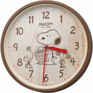 CITIZEN シチズン リズム時計工業 RHYTHM SNOOPY ( スヌーピー ) 掛け時計 キャラクター アナログ M06 連続秒針 茶 (木目調) [4903456209569-8MGA40-M06] ginza-sacomdo