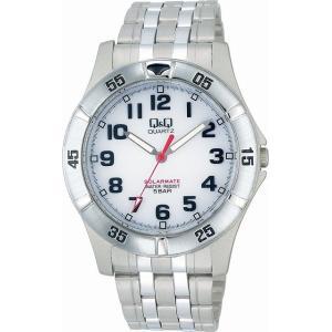 Q&Q 腕時計 ソーラーメイト ソーラー電源 5気圧防水 ホワイト H968-204 メンズ [4966006056181-H968-204] [メール便 日時指定代引不可]|ginza-sacomdo