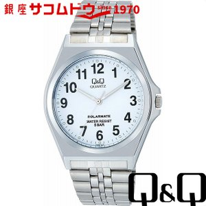 Q&Q 腕時計 ソーラーメイト ソーラー電源 5気圧防水 ホワイト H980-204 メンズ [4966006057522-H980-204] [メール便 日時指定代引不可]|ginza-sacomdo