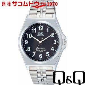 Q&Q 腕時計 ソーラーメイト ソーラー電源 5気圧防水 ブラック H980-205 メンズ [4966006057539-H980-205] [メール便 日時指定代引不可]|ginza-sacomdo