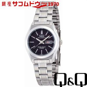 Q&Q 腕時計 ソーラーメイト ソーラー電源 日付表示 10気圧防水 ブラック H011-202 レディース [4966006062083-H011-202]|ginza-sacomdo