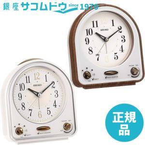 SEIKO CLOCK セイコークロック QM747B QM747W 目覚まし時計 31曲メロディアラーム 茶木目模様|ginza-sacomdo
