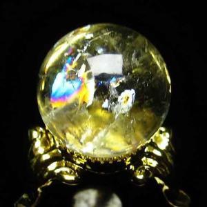 虹入り シトリン水晶 丸玉 21mm t294-2374|ginza-todo