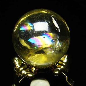 虹入り シトリン水晶 丸玉 23mm t294-2445|ginza-todo