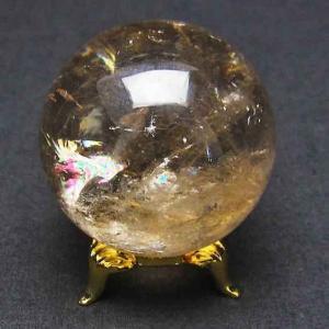 虹入り ライトニング水晶 丸玉 48mm t529-4710|ginza-todo