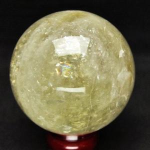 虹入り シトリン水晶 丸玉 85mm t63-3889|ginza-todo