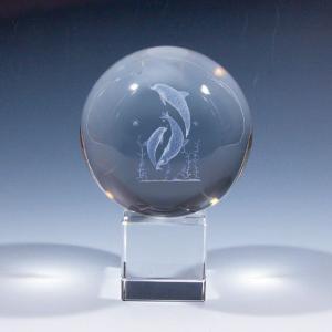3Dクリスタル イルカ ドルフィン インテリア オブジェ 水晶球 置物|ginzagift