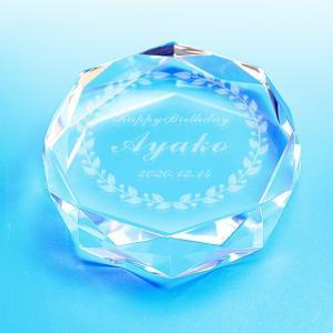 【お届け2週間】 クリスタルペーパーウェイト  記念品 80mm ダイヤカット 【彫刻代込み】