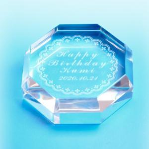 【お届け2週間】 クリスタルペーパーウェイト  記念品 80mm 8角形 【彫刻代込み】 |ginzagift